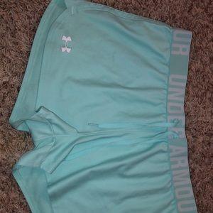teal/mint UA shorts